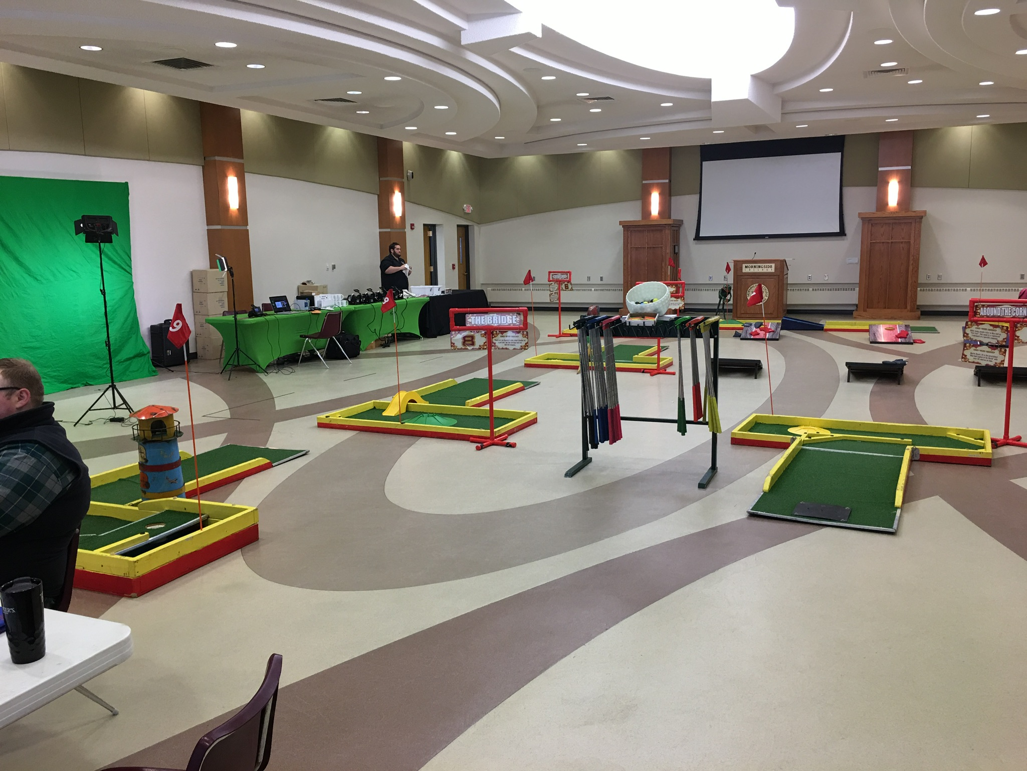Mini Golf To Go set up and ready for students at Morningside College
